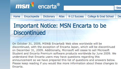 Press Release de Microsoft anunciando discontinuar Encarta