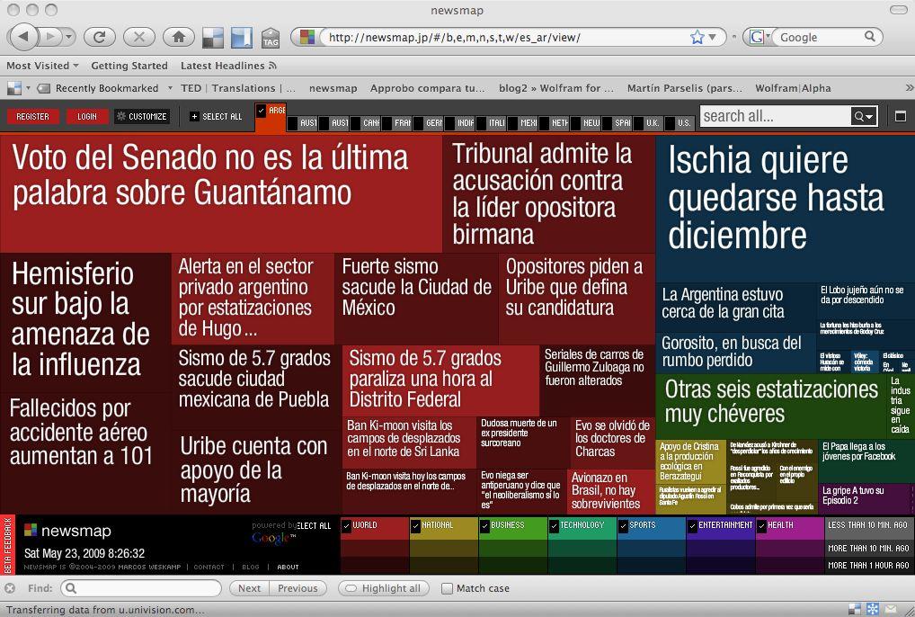 Newsmap de noticias de Argentina el 23 de mayo de 2009