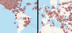 Naves volando el 27 de marzo de la app Plane Finder